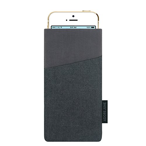 Adore June Tasche Clive für iPhone SE/iPhone 5 / 5s, Handyhülle mit Extrafach und Display-Reinigungseffekt, Schwarz/Grau