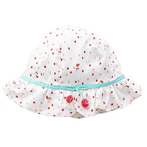 iisport Sonnenhut Mädchen Baby Sommermütze aus Baumwolle mit süßer Kirsche, atmungsaktiv/Größe 44