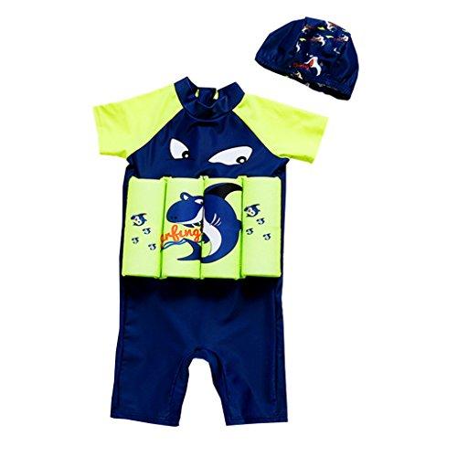OMSLIFE Combinaison Flottante Protection solaire UV Maillot de Bain Float Costume pour bébé fille et garçon Avec Flotteurs Ajustables Summer (F7, XL(2-3 ans))