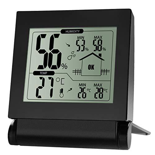 Habor Hygrometer Thermometer Innen Hydrometer Feuchtigkeit Thermo Hygrometer Digital Raum Thermometer Messer Luftfeuchtigkeitsmessgerät innen Min/Max für Babyraum, Büro, usw, Schwarz