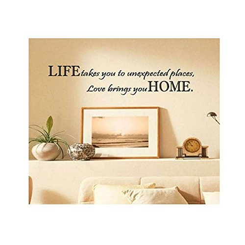 FUBARBAR Life Takes You Unexpected Places Love Brings You HOME Saying Quote Home Decor Art Removable Vinyl Wall Sticker