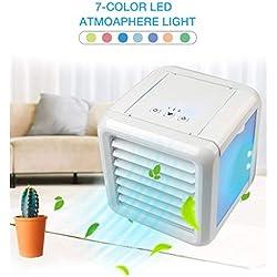 Thole Climatiseur Portable Mini Climatiseur Mobile Refroidisseur d'air Portable Rafraichisseur d'air Et Ventilateur Climatiseur Humidificateur Purificateur