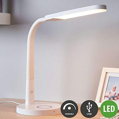 LINDBY LED Tischlampe 'Maily'mit USB Anschluss dimmbar (Modern) in Weiß u.a. für Arbeitszimmer & Büro (1 flammig, A+, inkl. Leuchtmittel) - Tischleuchte, Schreibtischlampe