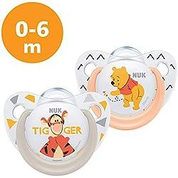 NUK Succettes Winnie l'ourson Trendline, 0-6 Mois, Sans BPA, Set de 2