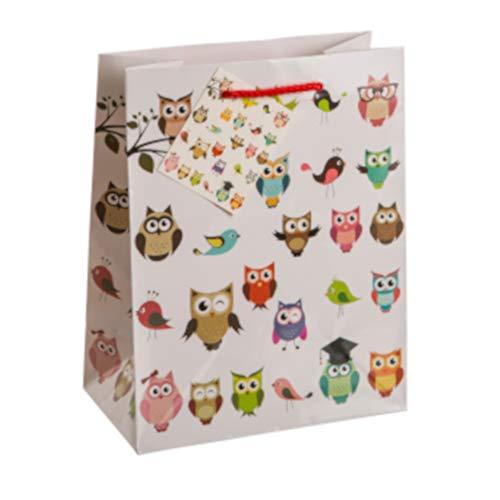 BIG-SAM - Geschenktüten mit Kinder Motiven | klein, mittel oder groß | Verschiedene Motive | mit Geschenkanhänger (Eule (3), A5 = 18 x 10 x 23 cm) - Kinder Kleine Für Schlitten