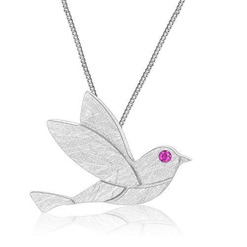 Lotus Fun S925 Sterling Silber Anhänger Taube/Schöne kleine Vogel Design Anhänger Kreativ Natürlicher Handgemachter Einzigartiger Schmuck für Frauen und Mädchen (Pigeon-Silver)