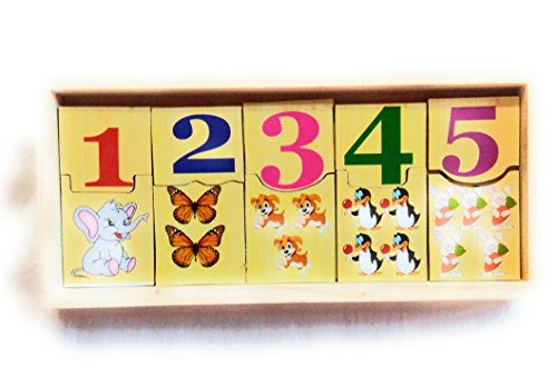 Elite Enterprises Wooden Number Domino Toy Set - 1 to 10 Number Cards with Colourful Pictures - 20 Pcs Early Learning Puzzle Game