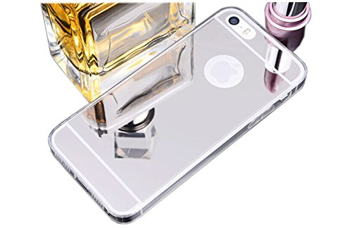 Silber Iphone Sechs (Spiegel Soft Case Handy Hülle Schutzhülle Luxus Bumper von ZhinkArts für Apple IPhone 6/6S Silber)