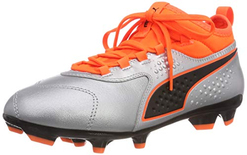Puma Kids ONE 3 LTH FG Jr Football Shoes, Silver-Shocking Orange Black, 1 UK