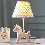 SMC Tischlampe Kinderzimmer Cartoon Einhorn LED Tischleuchte Schlafzimmer Nachttischlampe Kreative Junge Mädchen Nette Dekorative Tischlampe (Color : Pink)