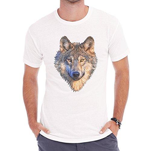 Wolf Head Grey Golden Eyes Herren T-Shirt Weiß