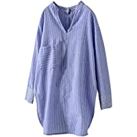 Hanomes Damen pullover, Damen Damen Knopfleiste Baumwolle Langarm Unregelmäßige Lange Hemdbluse preisvergleich bei billige-tabletten.eu