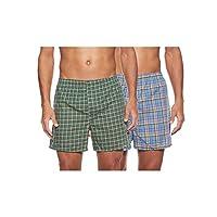 Hanes 838VTY Men's 2-Pack Inside Exposed Waistband Woven Boxers, Tartan Plaid, Medium