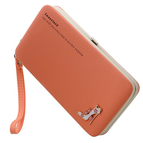 Ladies Purses Wallet,Phone Clutch Purse Mobile Phone Bag Wristlet Wallet Large Capacity with Hand Wrist for iPhone 8 / 8 Plus / 7/ 7Plus / 6S/ 6S Plus / Samsung Galaxy S8 /S7/S6 by Emoonland (Orange)