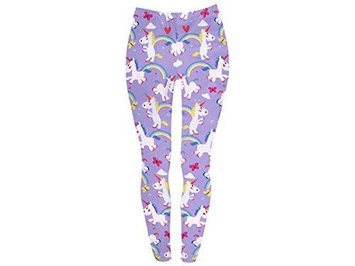 Einhorn Leggings Muster bunt Stretch Hose für Damen mit Muster Einhorn, Variante wählen:LEG-124 Einhorn lila