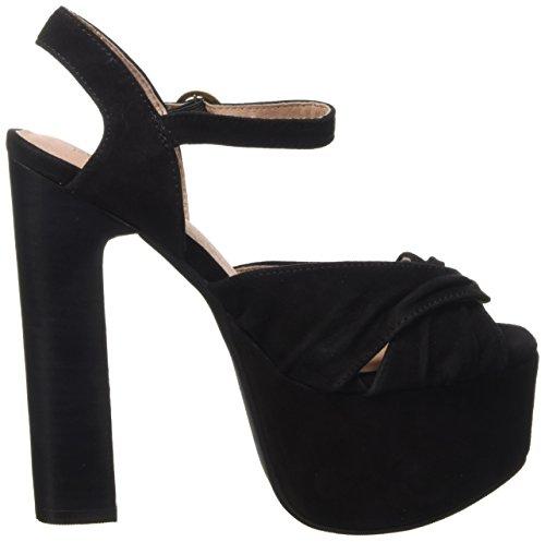 Jeffrey Campbell Donnas Suede, Chaussures à Talons à Bout Ouvert Femme, 37 EU Noir - noir