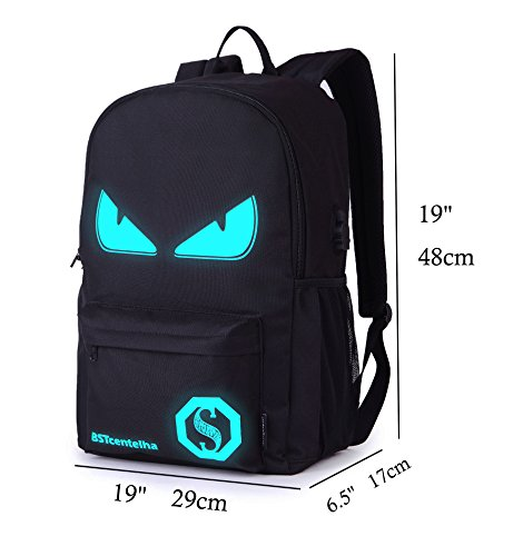 BSTcentelha Anime Luminous Shoulder Bag lightweight with Laptop Compartments for Students Teens Boy Girl Book Laptop Travel Camping (L)