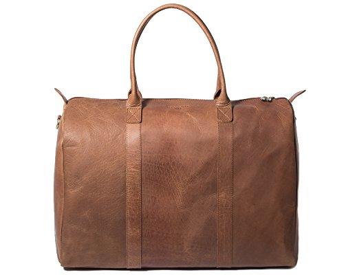 HOLZRICHTER Berlin No 10-1 (M) – Weekender aus Leder in Handgepäck-Größe. Handgefertigte Reisetasche/Bordtasche für Herren und Damen in braun