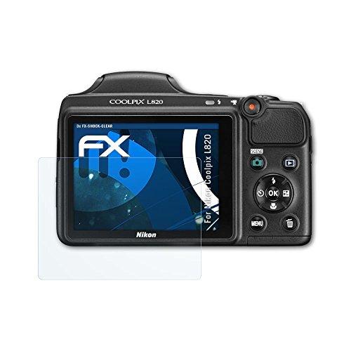 atFoliX Schutzfolie kompatibel mit Nikon Coolpix L820 Panzerfolie, ultraklare und stoßdämpfende FX Folie (3X)
