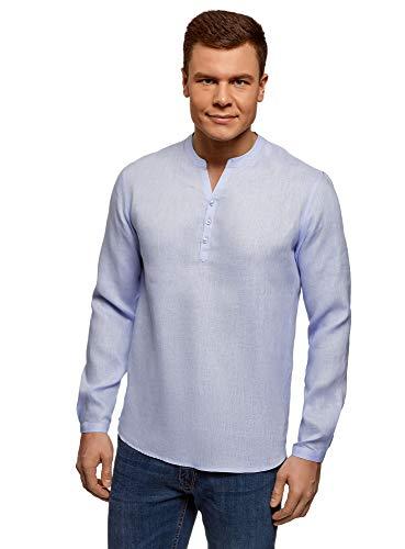Oodji ultra uomo camicia in lino senza colletto, blu, 44 сm/it 54 / xl