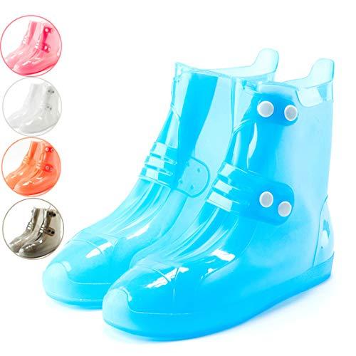GRXXX Silikon Überschuh wasserdicht Regen Tag Verdickung Rutschfeste Abriebfeste Unterseite Regen Stiefel Männer und Frauen im Freien,Blue-S
