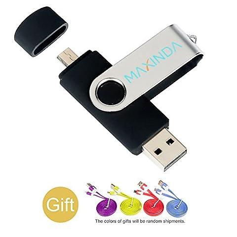 MAXINDA Micro USB Stick 32GB USB 2.0 Speicherstick für Telefon und PC(schwarz)