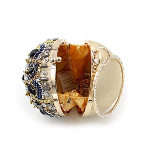 Frauen-hochwertige Handtasche Diamantbeutel Luxus Perlen Bankett Tasche Gold