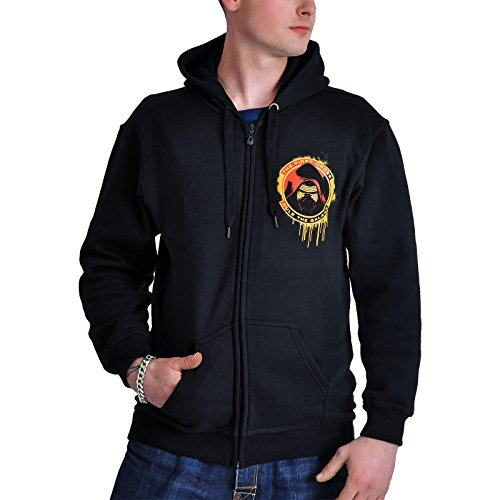 Star Wars Kapuzen Jacke First Order Kylo Ren Schwarz Front- und Backprint - XL