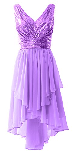 MACloth Women Straps V Neck Sequin Chiffon High Low Prom Dress Formal Party Gown (Custom Size, Lavendel) (Bras Womens Lavendel)