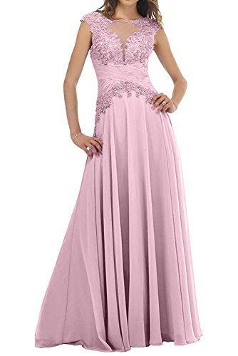 Charmant Damen Lawender Spitze Abendkleider Ballkleider Partykleider Langes Brautmutterkleider mit Kurzarm Rosa