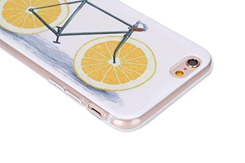 Hülle für iPhone 6 6S, Case Cover für iPhone 6 6S [Scratch-Resistant] , ISAKEN Ultra Slim Perfect Fit Malerei Muster TPU Silikon Clear Transparent Protective Rückseite Back Hülle Hüllen Beschützer Hau Fahrrad Zitronen