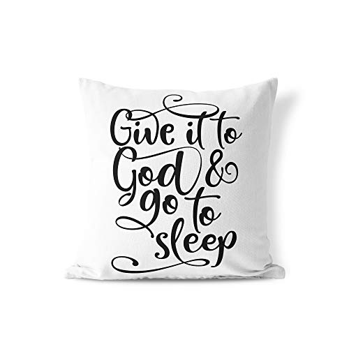 prz0vprz0v Give It to God and Go to Sleep Throw Pillow Cover, Decorative Pillow Cover, Bible Verse, Jesus, Bedroom, Home Decor, Quote, Christian Gift 18'' x 18'' Cushion Cover Pillowcase