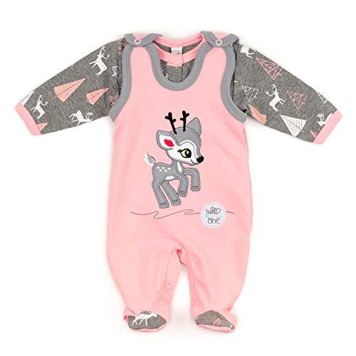 Koala Baby Koala Baby Baby Set Strampler + Shirt rosa grau   Motiv: Reh   Babyset 2 Teile mit Rehkitz für Neugeborene & Kleinkinder   Größe: 3 Monate (62)
