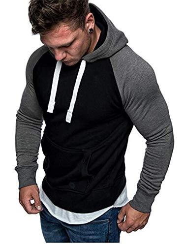 Sweat à Capuche Hommes Pull Sweatshirt Manche Longue Vêtements de Sport pour Couples avec Grosse Poche Hoodies Homme (Noir, XL)