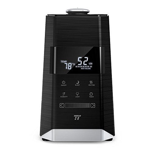 Luftbefeuchter Ultraschall Humidifier TaoTronics 6L Befeuchter bis 60㎡ Warm und Kalt mit 360° Düse Außen Feuchtigkeitssensor, LED-Anzeige, Eingebaute Kartusche, Niederer Wasserstand-Schutz, Nachtmodus