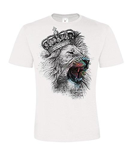 DarkArt-Designs King Lion - Löwen T-Shirt für Kinder und Erwachsene - Tiermotiv Shirt Wildlife Party&Freizeit Lifestyle regular fit, Größe L, weiß (Disney T Shirts Für Erwachsene)