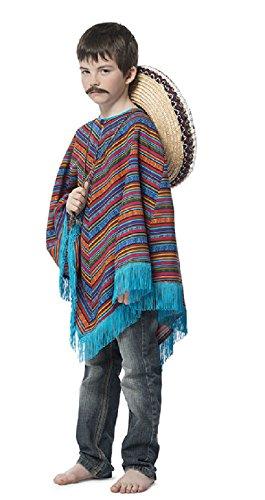 L3102090-128-140 türkis-bunt Kinder Mexikaner Poncho Fransenumhang Gr.128-140