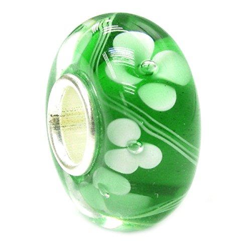 Queenberry, cham in argento sterling e vetri, motivo floreale, colore: verde, perline in vetro in stile europeo