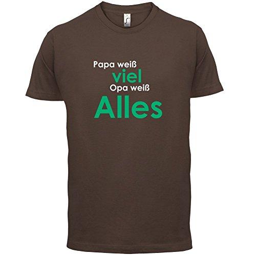Papa weiß viel, Opa weiß alles ! - Herren T-Shirt - 13 Farben Schokobraun