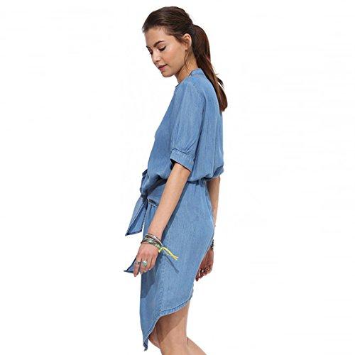 M-Queen Jeans Robe Chemisier Femmes Boyfriend Sexy Manches Longues Tunique Casual Dress Long Tops avec Ceinture Bleu