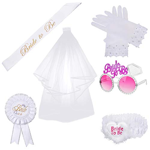 OZUAR 6 Piezas Bride to Be Accesorio Set Kit, Velo Blanco de Novia de Boda con Peine, Bride to be...