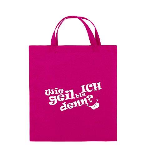 Comedy Bags - Wie geil bin ICH denn? - ZUNGE - Jutebeutel - kurze Henkel - 38x42cm - Farbe: Schwarz / Pink Pink / Weiss