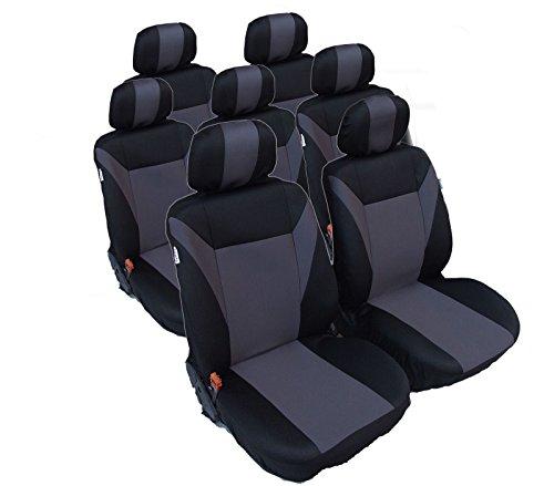 7x Sitze Sitzbezüge Schonbezüge Schwarz Grau