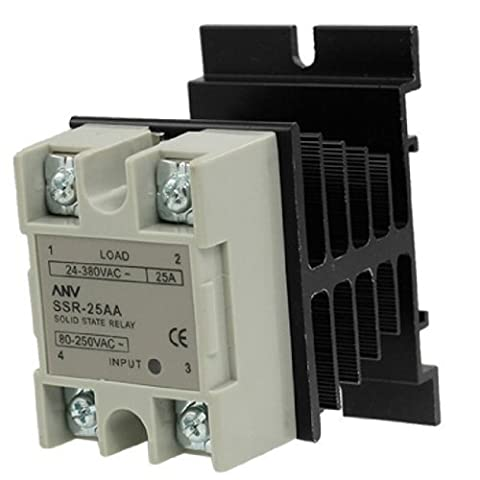 25A SSR Solid state Relais AA 80-250V control 24-380V AC Heat Sink