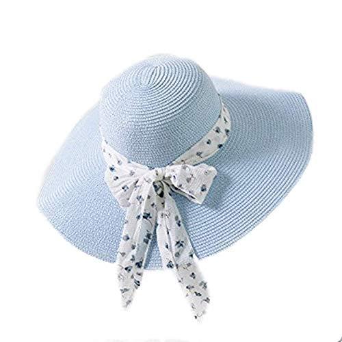 GYFKK Hut Sommer Weibliche Sonne Hut Schleife Band Panama Strand Hüte Für Sombrero Floppy Hut himmelblau (Mafia Kostüm Weiblich)