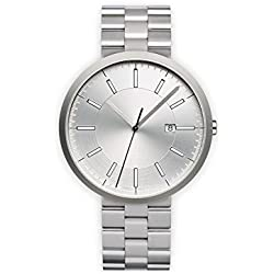 Uniform Wares M40 Brushed Steel Unisex Quartz Watch with Silver Dial Analogue Display And Silver Silver Bracelet