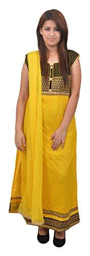 Manshi Women's Net Salwar Suit Set (Yellow & Black, X-Large)