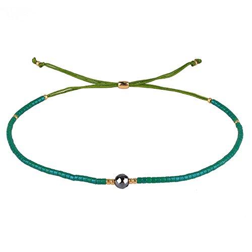 KELITCH Armband Damen Frauen Wald-Grün Rocailles Perlen Grün Zart Schnur Freundschaftsarmbänder mit Grau Hämatit Strangarmband Armbänder Männer -