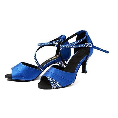 Frau Lateinisch Tanzen Sandalen Satin Diamant Leder Tango Salsa Samba Tango Ballsaal Offener Zeh Weich Wildleder Sohlen Schnalle High Heels Blau Schuhe . A . 37