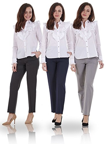 Ex Famous Store Ladies Smart Work Straight Leg Office Formal Woman Forma Trousers